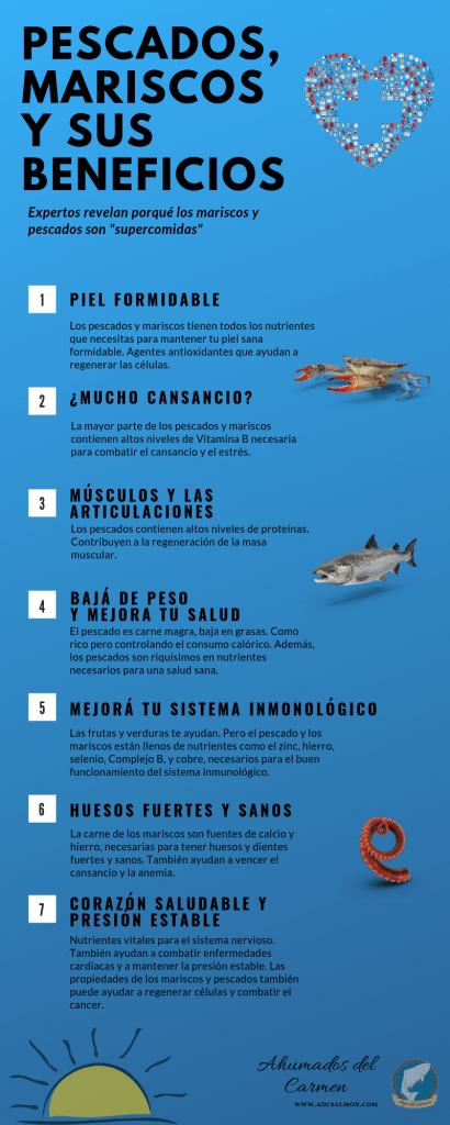 beneficios de los mariscos y pescados: supercomidas