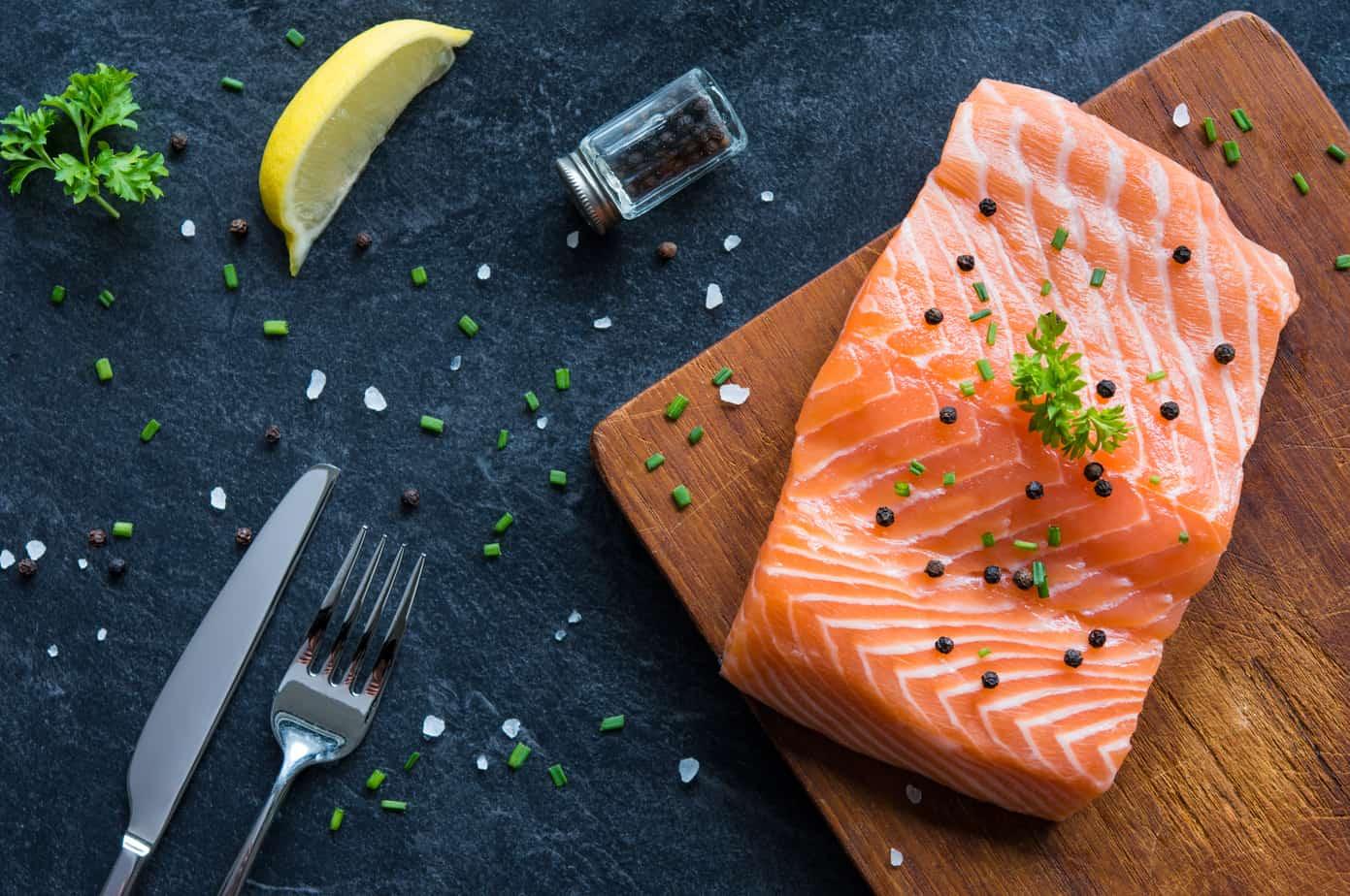 porción de salmón