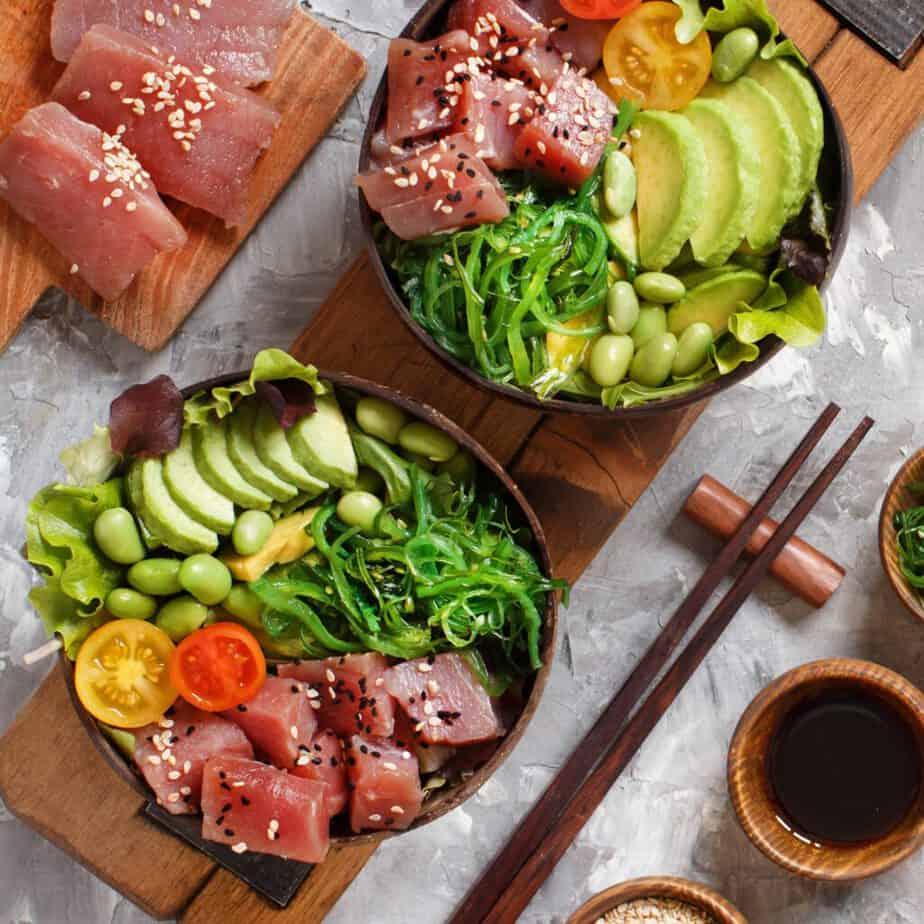 Poke Hawaiano de atún rojo y vegetales